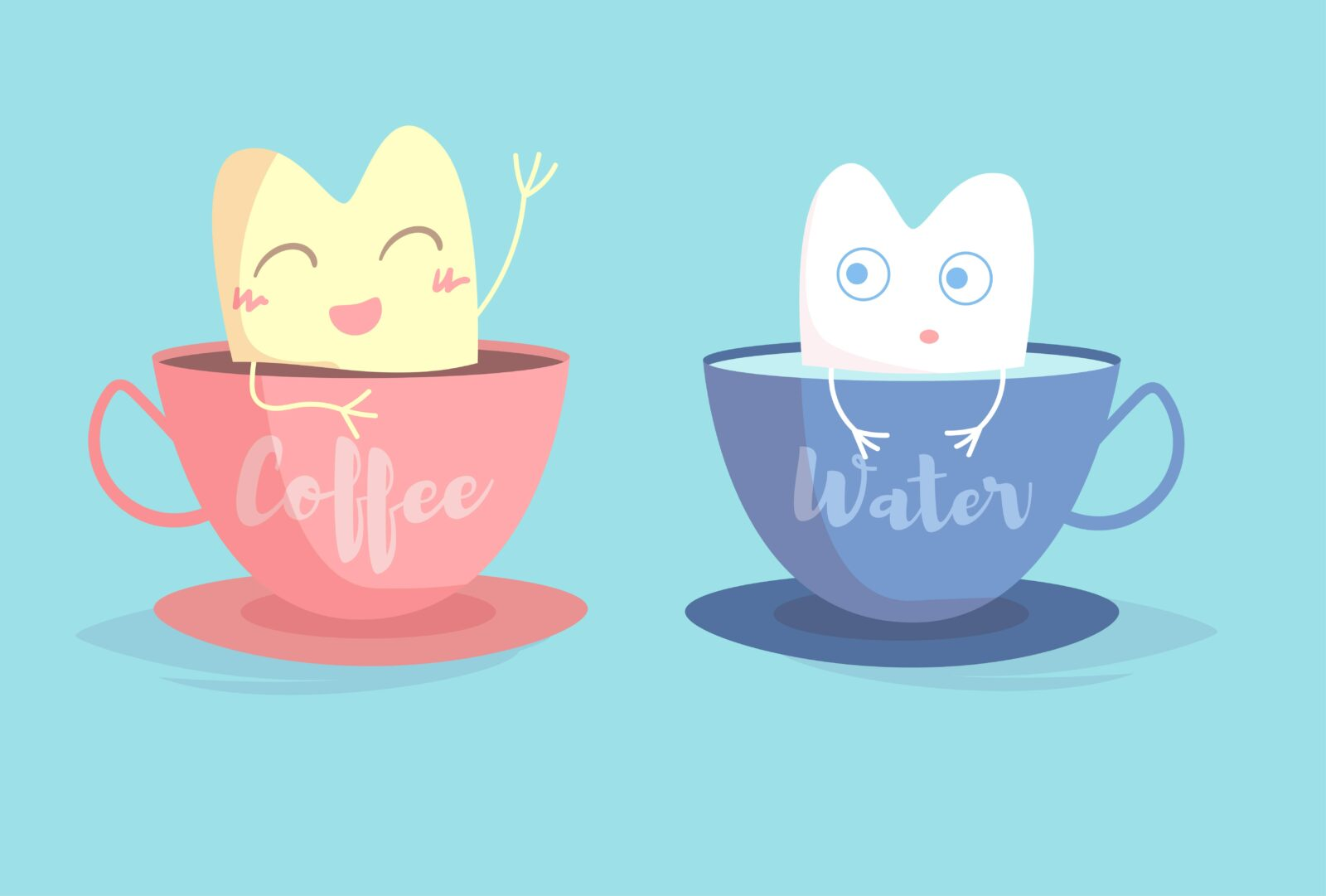 cartoon of stained tooth in coffee and white tooth in water